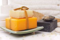Soaps. On soap dish with accessory Stock Photo