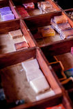 Soaps. Different kind of soaps, hand made, mostly of argan seed oil then perfumed Royalty Free Stock Image