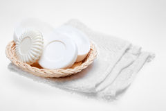 Soaps in basket Royalty Free Stock Image