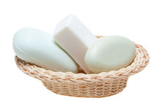 Soaps and basket Royalty Free Stock Photos