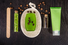 Soaps, bath salt, mask on wood table background. spa Stock Images