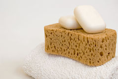 Soaps, Bath Sponge and Towell Stock Photo