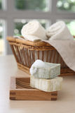 Soaps and booble. Soaps,towels and boobles with a blurred background Stock Photography