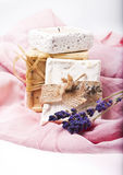 natural soaps on pink background with lavender Royalty Free Stock Images