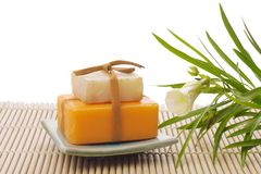 Soaps with flower Royalty Free Stock Images