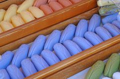 Soaps formed like cicadas. On a market in the provence, france. the cicada is a symbol for the provence royalty free stock image
