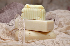 Soaps on lace stock images
