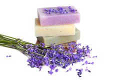 Soaps and lavender stock photo