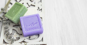 Soaps with lavender and olive Royalty Free Stock Photos
