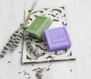 Soaps with lavender and olive Royalty Free Stock Photo