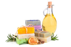 Soaps and massage oil Stock Photography