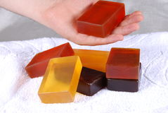 Soaps. Orange color, beautiful scented soaps Royalty Free Stock Photography
