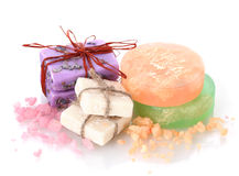 Soaps and sea salt Stock Photo