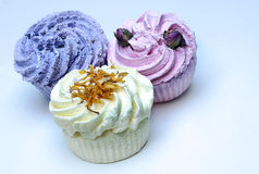 Soaps shaped cupcake. Surrounded by white backgrounde Stock Photography