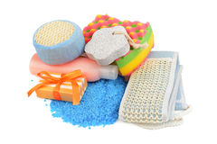Soaps and sponge Stock Images