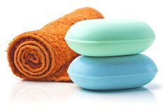 Soaps with Towel. Royalty Free Stock Photography