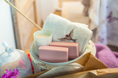 Soaps and towel Stock Images