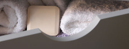 Soaps and towels. In the bath Royalty Free Stock Photography