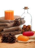 Soaps, towels and pine cones Stock Photo