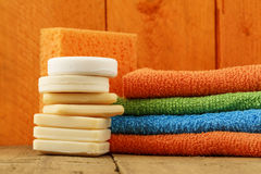 Soaps, towels and sponge Royalty Free Stock Image