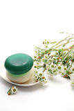 Soaps and waxflower Royalty Free Stock Photos