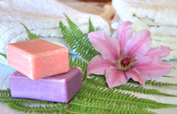 Soaps with white towels Royalty Free Stock Photos