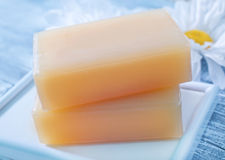 Soaps. On the wooden table Stock Photography