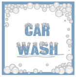 Soapy car wash sign. Car wash poster covered in soap bubbles illustration royalty free illustration