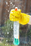 Soapy liquid on window glass during washing Royalty Free Stock Images