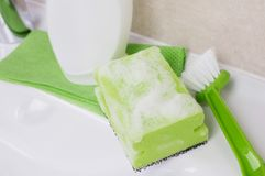 Soapy sponge closeup Royalty Free Stock Images