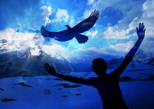 Soar like an eagle. They will soar on wings like eagles Royalty Free Stock Images