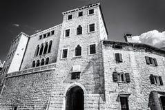 Soardo-Bembo Palace, Bale, Istria, Croatia, colorless. Soardo-Bembo Palace, Bale, Istria, Croatia. Travel destination. Architectural theme. Black and white photo stock image