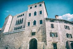 Soardo-Bembo Palace, Bale, Istria, Croatia. Travel destination. Architectural theme. Analog photo filter with scratches stock image