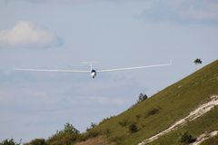 Soaring. A glider coming in for a landing Stock Photos