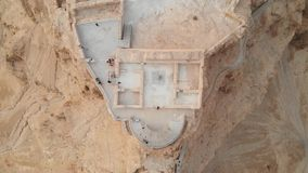 Soaring aerial 4K view MASADA, ISRAEL. Filmed flying drone. rise of the Quadrocopter over Masada, an ancient Jewish. Fortress in the Israeli desert stock footage