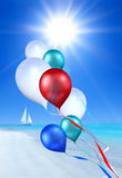 Soaring balloons over sea Royalty Free Stock Photography