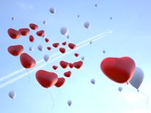 Soaring Balloons in Valentine's day Stock Images
