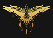 Soaring bird of prey. Gold silhouette on black background. Vector hand drawn illustration. Template for temporary tattoo, t-shirt print and other Royalty Free Stock Images