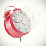 Soaring Clock alarm clock with broken glass shattered into small pieces. Royalty Free Stock Photo