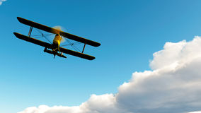 Soaring Double Wing Airplane Stock Images