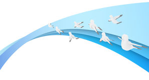 Soaring Dove. The dove fly. Birds fly to celebrate the day. Fly like a bird on the flow gradient. Blue rainbow Stock Images