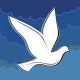 Soaring dove in the blue sky logo Royalty Free Stock Image