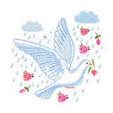 Soaring dove with flower in the clouds Stock Images
