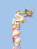 Soaring Dragon. A replica of Chinese dragon creeping and spiralling over a long pole. It soared skyward Stock Images