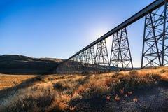 Soaring Elevated rail trestle Stock Photo