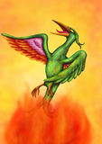 Soaring Phoenix II (2016). An abstract illustration of a soaring phoenix, rising out of the flames of a burning fire up into the air; the blurring is intended Royalty Free Stock Image