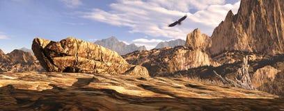 Soaring In The Southwest. Bald eagle soaring above a Southwest landscape vector illustration