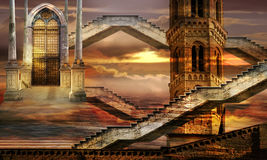 Soaring towers. Ethereal towers surreal Royalty Free Stock Photos