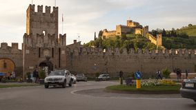 Soave, Italy 04/27/2019: urban life in Soave, from the main square with castle`s view stock video