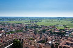 Soave town aerial view.Italian landscape Royalty Free Stock Photography